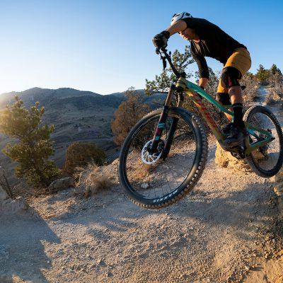 Mountain Bikers on Dakota Ridge Trail near Morrison Colorado